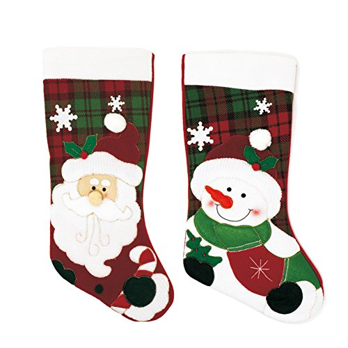 "- Seatopia 2 Pack 17""Christmas Stockings Cute Santa & Snowman 3D Applique for Holiday Decorations and Gift Holder"