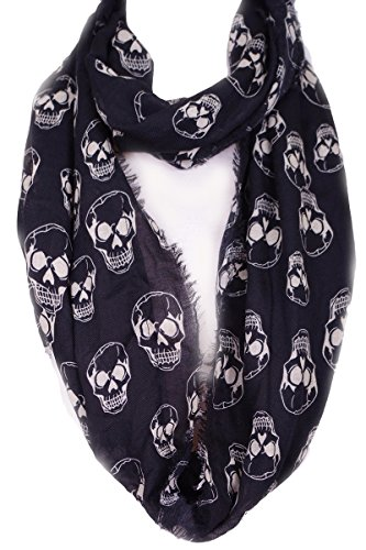 (Skull print infinity scarf with raw finish)