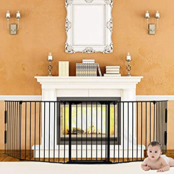 Image of Baby 5-in-1 Fireplace Fence, Wide Barrier Gate Baby Safety Fence with Walk-Through Doo r in Two Directions Extra Wide Gate for Indoor/Pet/Dog/Christmas Tree Enclosure, Includes 4 Pack of Wall Mounts