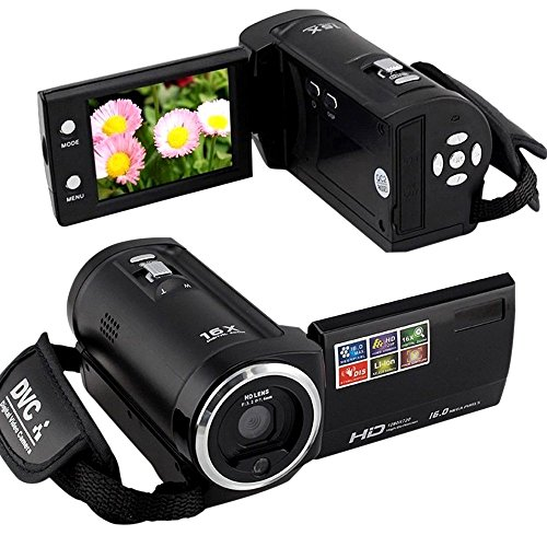 HD-C6 Hd 720p 16mp Digital Video Camcorder Camera Mini Dv 2.7'' TFT LCD 8 x Digital Zoom + Fashion Silicon Bracelet, Black