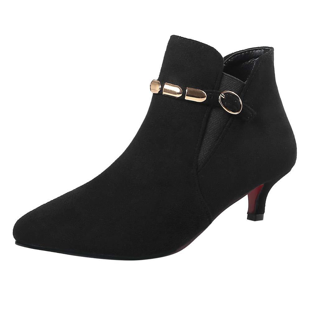 Hunzed Women Shoes Suede Pointed Low Heel Metal Chain Women's mid-Heel Booties (Black, 5.5)