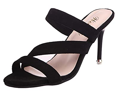 Cheerlife Elegant Damen Schuhe Wildleder Sandalen High Heels Stiletto Sandaletten Pantoletten Sommerschuhe