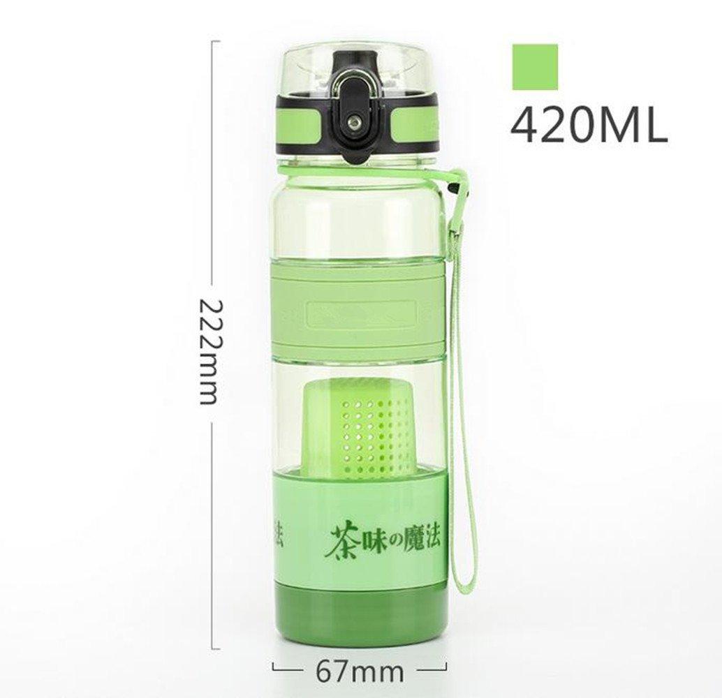 SHULING Taza Del Agua La Separación De La Cubeta De Sus Plástico De La Taza De Té En Sus De Manos El Tazón De Agua Creativo De Filtrado Portátil De Viaje Exterior Mugs, Verde Manzana,420Ml 5f307e