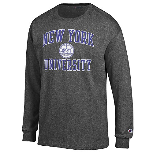 New York University Violets Long Sleeve Tshirt Seal Charcoal   Xxl