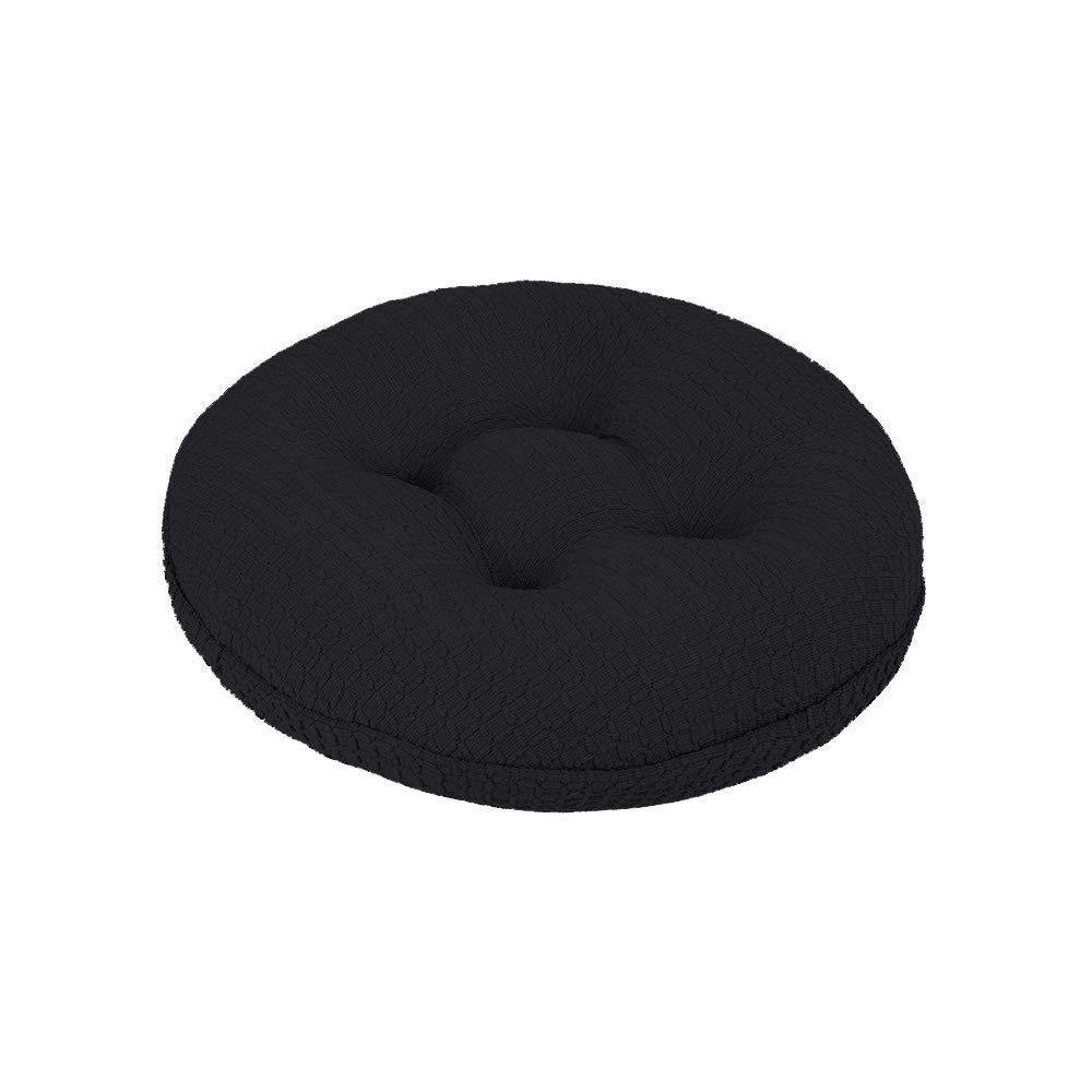 Lominc Black Thick Round Bar Stool Cushion with Elastic, Water & Oil Repellient,Suitable for 11.5''-13.5'' Wooden/Steel Stools, with 4 Ties