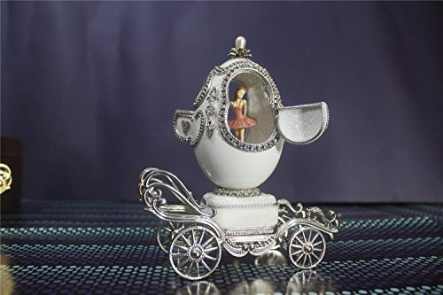 Music Box For Girls Easter Egg Artists Musicbox Eggshell Art Music Box Ballerina Dance Ballet on Carriage by Biscount