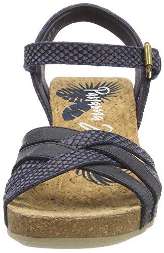Panama Jack Damen Vera Snake Peeptoe Sandalen Blau (marino)