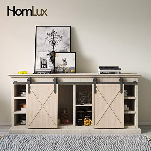 HomLux 4ft Double Cabinet Door Mini Barn Door Hardware Kits for Cabinet Doors - Smoothly and Quietly - Simple and Easy to Install J Shape Hangers