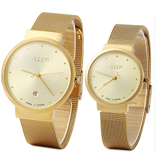 JULIUS JA-426 Couple His and Hers Gold Ultra Thin Quartz Analog Mesh Stainless Steel Fashion Wrist Watch