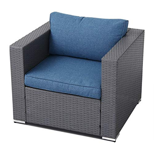 SOLAURA Outdoor Sofa Furniture Dark Grey Wicker Lounge Chair | Additional Chair for Sectional Sofa Sets | Denim Blue Cushion with YKK Zipper