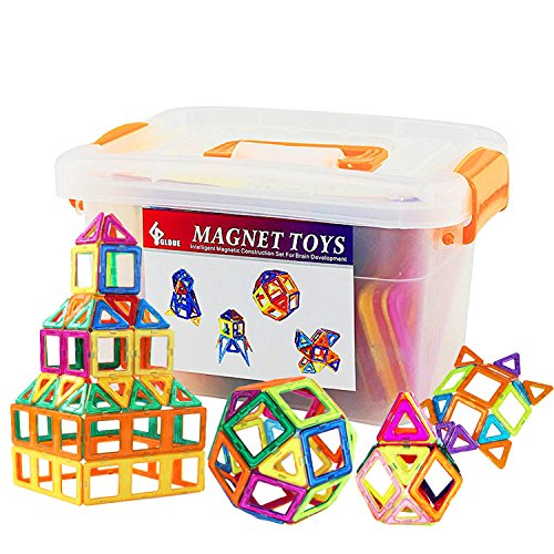GLOUE Magnetic Blocks, Building Blocks,Magnetic Toy Contain Square, Triangle, Large Triangle Magnets Toys for Girls & Boys - Deluxe Set (64pcs) (All Building Blocks)