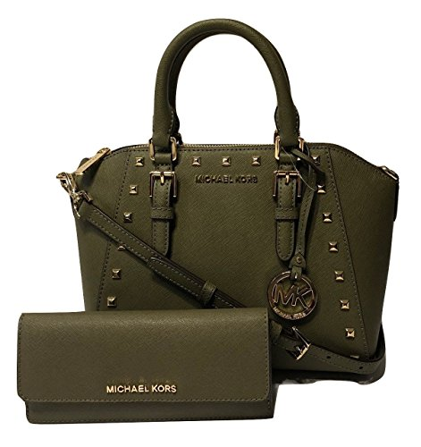 Michael Kors Ciara Studded MD Messenger Handbag bundled with Michael Kors Jet Set Travel Flat Wallet (Olive)