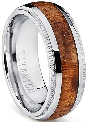 Hawaiian Wedding (Titanium Wedding Band, Engagement Ring with Real Hawaiian Koa Rosewood Inlay, 8mm comfort fit SZ 11)