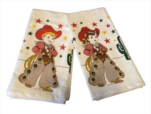 Cowboy & Cowgirl Pair Buckaroo Kitchen Dish Towels Retro Kitchen Towels