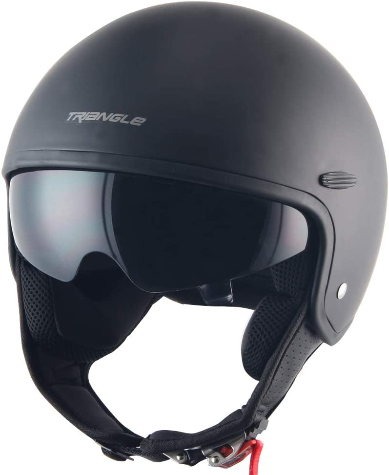 Triangle Half Helmet Sun Visor Quick Release Buckle DOT Approved Half Face Cycling ATV Bike Helmets for Men /& Women X-Large,Matte Black