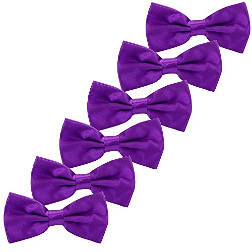 Boys Children Formal Bow Ties - 6 Pack of Solid Color Adjustable Pre Tied Bowties(Purple)