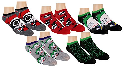 DC Comics Womens Harley Quinn Suicide Squad Ankle-No Show Socks 5 Pair Pack (Green/Red) 9-11 -