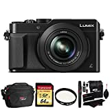 Panasonic LUMIX LX100 16.8 MP Four Thirds CMOS sensor Point and Shoot Camera with Integrated Leica DC Lens (Black) + Transcend 64GB SDXC U3 + Deluxe Bag + Polaroid 43mm UV Filter + Cleaning Kit For Sale