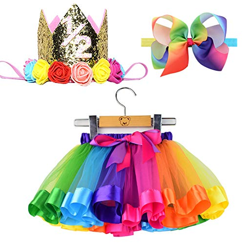 BGFKS Tulle Rainbow Tutu Skirt for Newborn Baby Girls Photography Outfit Sets Baby Girls 1st Birthday (Rainbow-Crown 1/2st, S,0-24 Months)