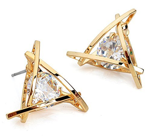 Crunchy Fashion Gold Plated Stylish Zircon Crystal Stud Earrings For Women