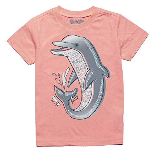 Peek-A-Zoo Toddler Short Sleeve Tshirt - Dolphin Neon Coral - 5T ()