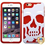 MyBat APPLE iPhone 6 Plus Skullcap Hybrid Protector Cover - Retail Packaging - Ivory/Red/White