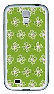 Samsung S4 Case Floral Pattern And Green Background TPU Custom Samsung S4 Case Cover White