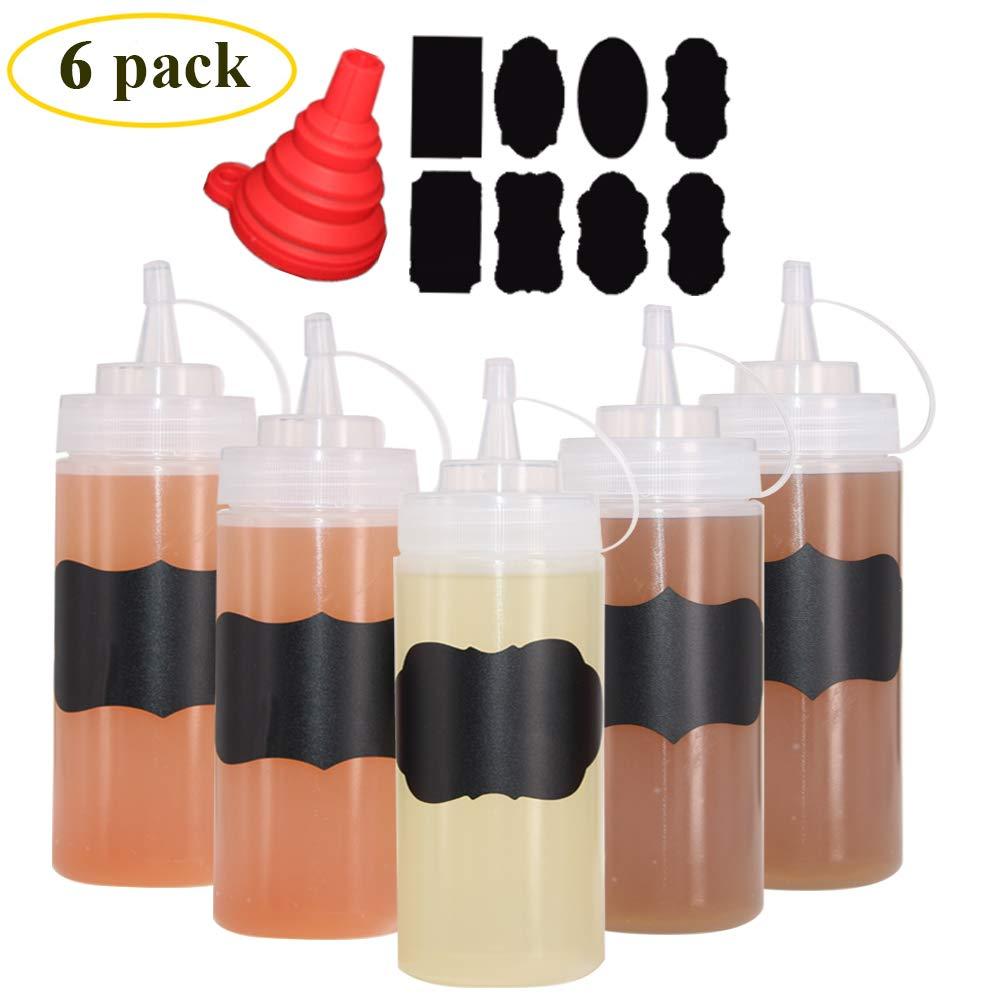 Benail - Juego de 6 botellas de plástico con tapón de punta ...