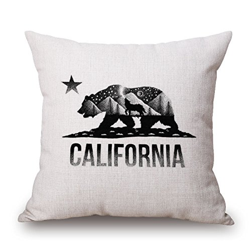 (Elliot_yew Simple Animals Painting Picture in Picture Cotton Linen Throw Pillow Case Cushion Cover Home Sofa Decorative 18 X 18 Inch-California State Flag)