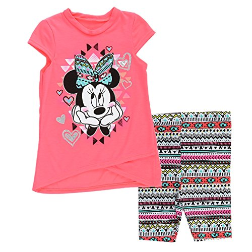 Minnie Mouse Toddler Girls Tribal Logo Top & Biker Shorts Set (3T, Neon Pink) (Minnie Outfit)