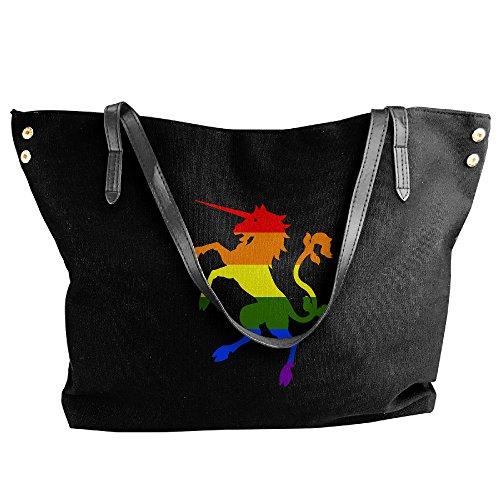 Ladies Rainbow Unicorn Large Tote Bags,canvas Bags,shoulder Handbags