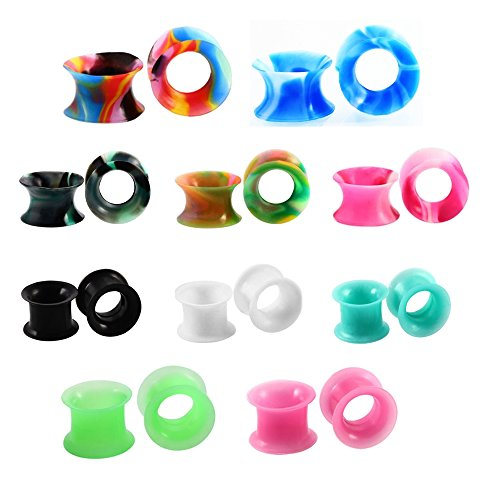 Double Flared Ear Tunnel (SanMeader 20PCS Mixed Colors Medicine Silicone Ear Skin Flexible Flesh Gauges Ear Plugs Stretchers Expander Double Flared Tunnels Stretching Set Hollow Body Piercing--10mm(00g))