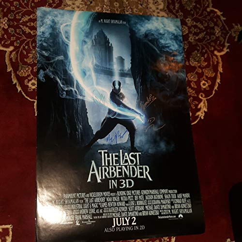 Down Ringer - The Last Airbender - 4x Autographed Signed 27x40 inch Double Sided Poster - Noah Ringer Nicola Peltz Jackson Rathbone and M. Night Shamalan MARK DOWN Crinkles and little rips
