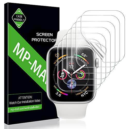 MP-MALL Screen Protector for Apple Watch 44mm / 42mm (Series 4/3/2/1 Compatible), [6-Pack] Anti-Bubble Screen Protector Flexible Film, Lifetime Replacement Warranty (Face Cover Film)