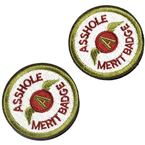 2 Pieces Asshole Merit Badge Morale Patch, Funny Tactical Military Morale Patch Hook & Loop, Green