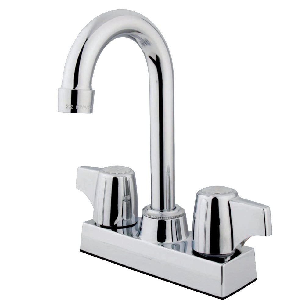 Kingston Brass GKB460 Franklin 4-InchCenter Bar Faucet In Canopy Handles, Polished Chrome