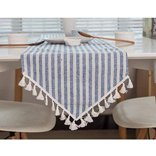 Meiosuns Table Runner Striped Fringe Table Runners Rectangular Runners Cotton Linen Table Cover Suitable for Home Kitchen Decoration,Various Size (Blue/White Stripes, 12