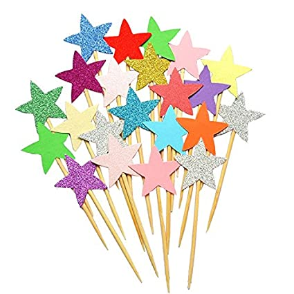 50pcs Star Cupcake Toppers DIY Glitter Mini Birthday Cake Snack Decorations Picks Suppliers Party Accessories For