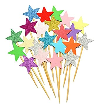 Image Unavailable Not Available For Color 50pcs Star Cupcake Toppers DIY Glitter Mini Birthday