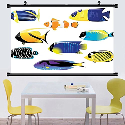 Gzhihine Wall Scroll Ocean Animal Decor Type of Pacific Fish with Mackerel Salmon and Sea Bass Exotic Wild Home Decor Wall Hanging Multi - Outlets Jackson Bass