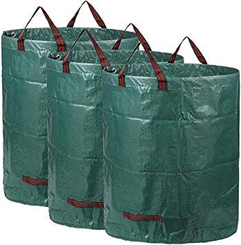Sacos de jardín, Bolsas de jardín Premiums, Resistentes al Agua, Grandes Bolsas de Basura con Asas, Plegables y Reutilizables(3x300L): Amazon.es: Bricolaje y herramientas