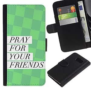 KLONGSHOP // Tirón de la caja Cartera de cuero con ranuras para tarjetas - BIBLIA rogación para sus amigos - Samsung Galaxy S6 //