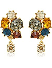 Arabian Nights Swarovski Crystal Button Drop Earrings
