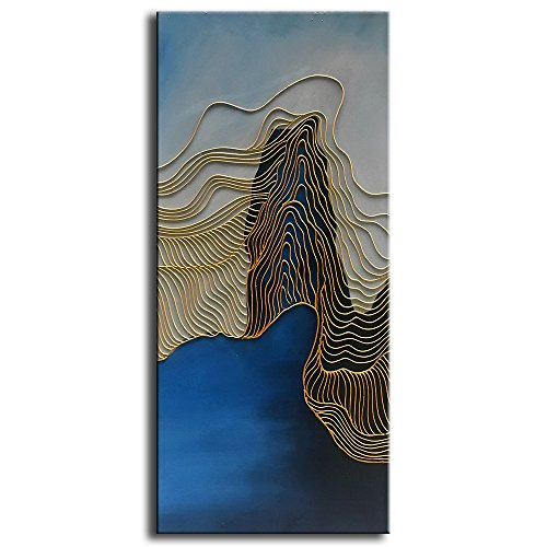 Blue Oil Painting (baccow - (NO.2 of the 3 Panel) Gold Lines Blue Modern Abstract Hand Painted 3D Oil Paintings on Canvas Large Framed Wall Art for Living Room Bedroom Home Decorations 2448inch)