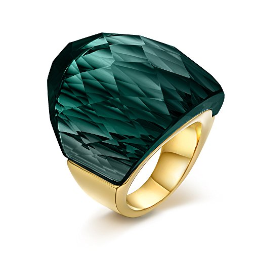 Gold Tone Green Ring - 1