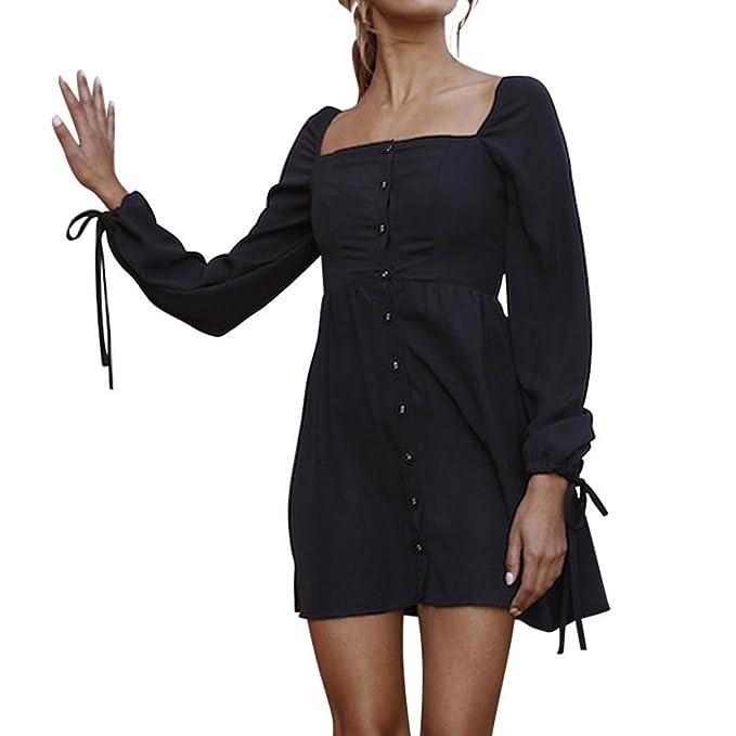 OHQ Vestidos Mujer Camisola Manga Larga Cuello Cuadrado Mini Vestido BotóN Bolsillo Moda Vestido Blusa Falda