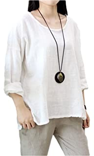 5e728877249fc Soojun Women s Casual Loose Long Sleeve Round Collar Cotton Linen Shirt  Blouse Tops (Size S