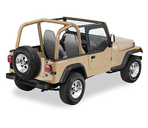 Bestop 53120-15 Black Denim Fabric Replacement Upper Door Skin Set for 88-95 Wrangler YJ ()