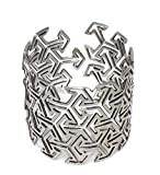 Unisex Silver Plated Adjustable Cuff Bracelet Japanese Design Bangle Oriental Geometric Kimono Arrow Form