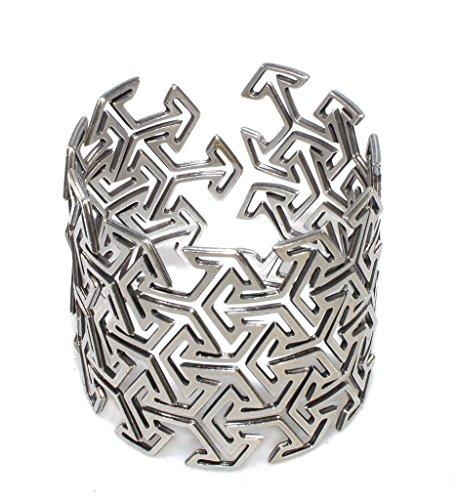Unisex Silver Plated Adjustable Cuff Bracelet Japanese Design Bangle Oriental Geometric Kimono Arrow Form by NanoStyle Jewelry